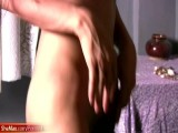 Skinny femboy in hot lingerie enjoys striptease and jerks off