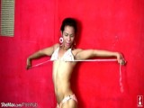 Tall Filipino tgirl takes off colorful underware and strokes