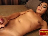 Breathtaking tgirl stroking off