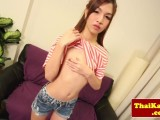 Thai skinny shemale with cuffs jerks herself