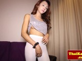 Legal age teenager thai lady-man with large bra buddies enjoys solo fun
